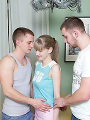 Pretty teen willingly agrees to fuck with two guys